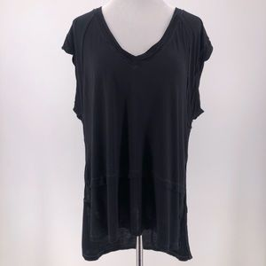 We the Free People V-Neck Slub Tee Top Sz XS Black